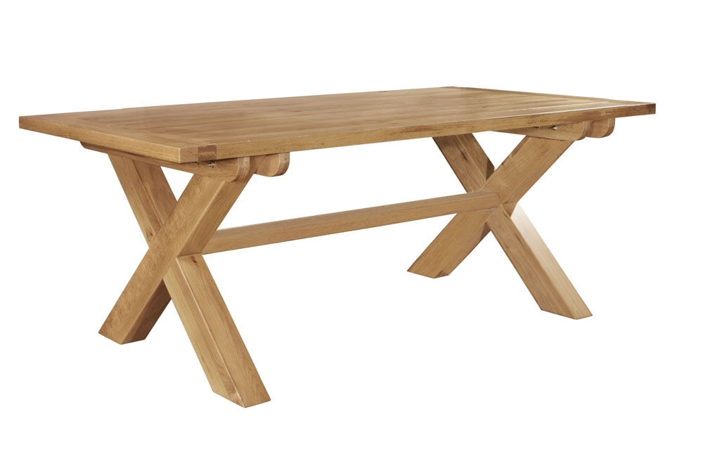 ... Oak Fixed Top Cross Leg Dining Table & Bench & 5 Paris Dining Chairs