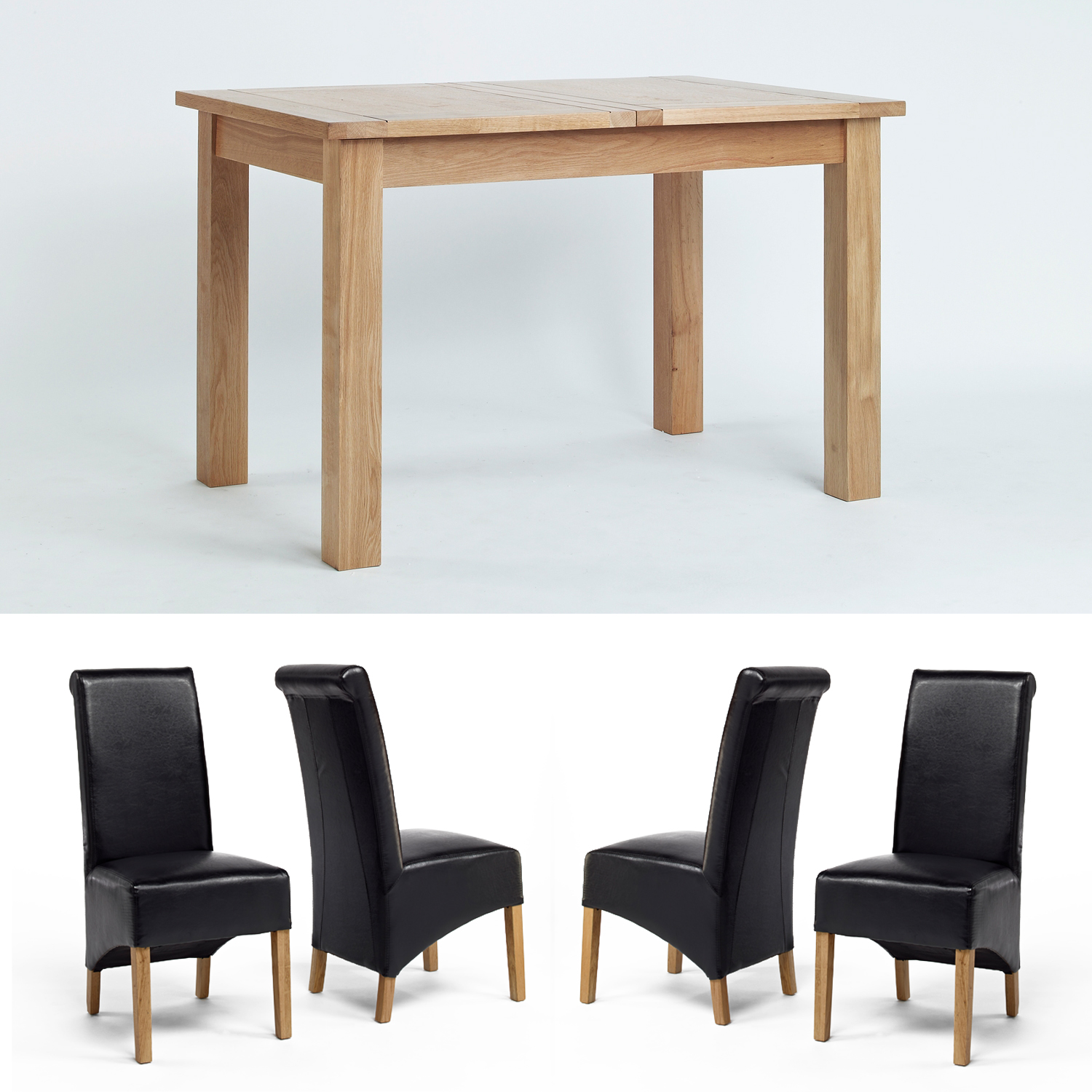 Sherwood Oak Small Extending Dining Table, 1 Bench + 4 Roll Back Dining Chairs - Multiple Colours (B